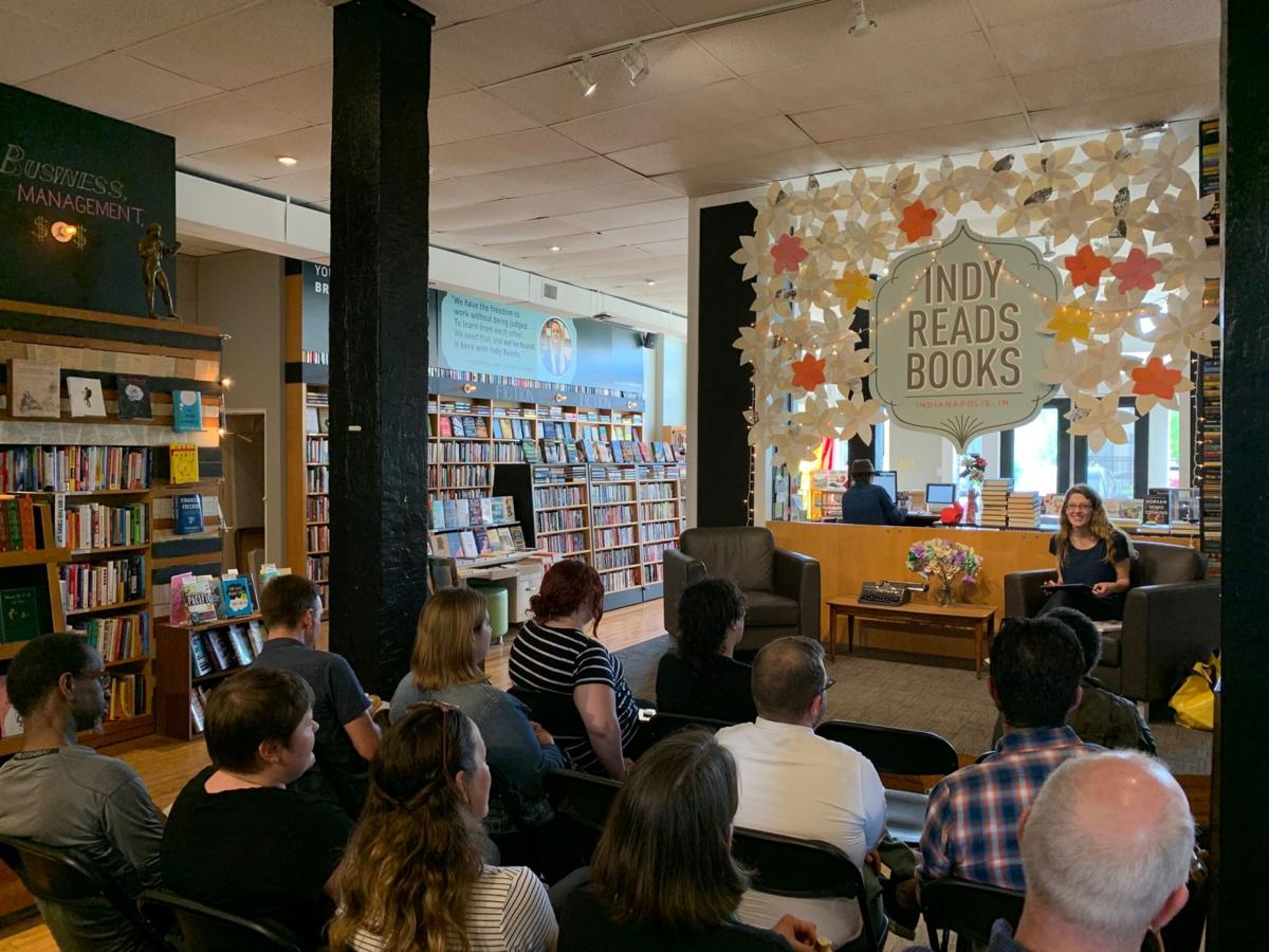 Laura Holzman reading from 'Contested Image' at Indy Reads earlier this year.