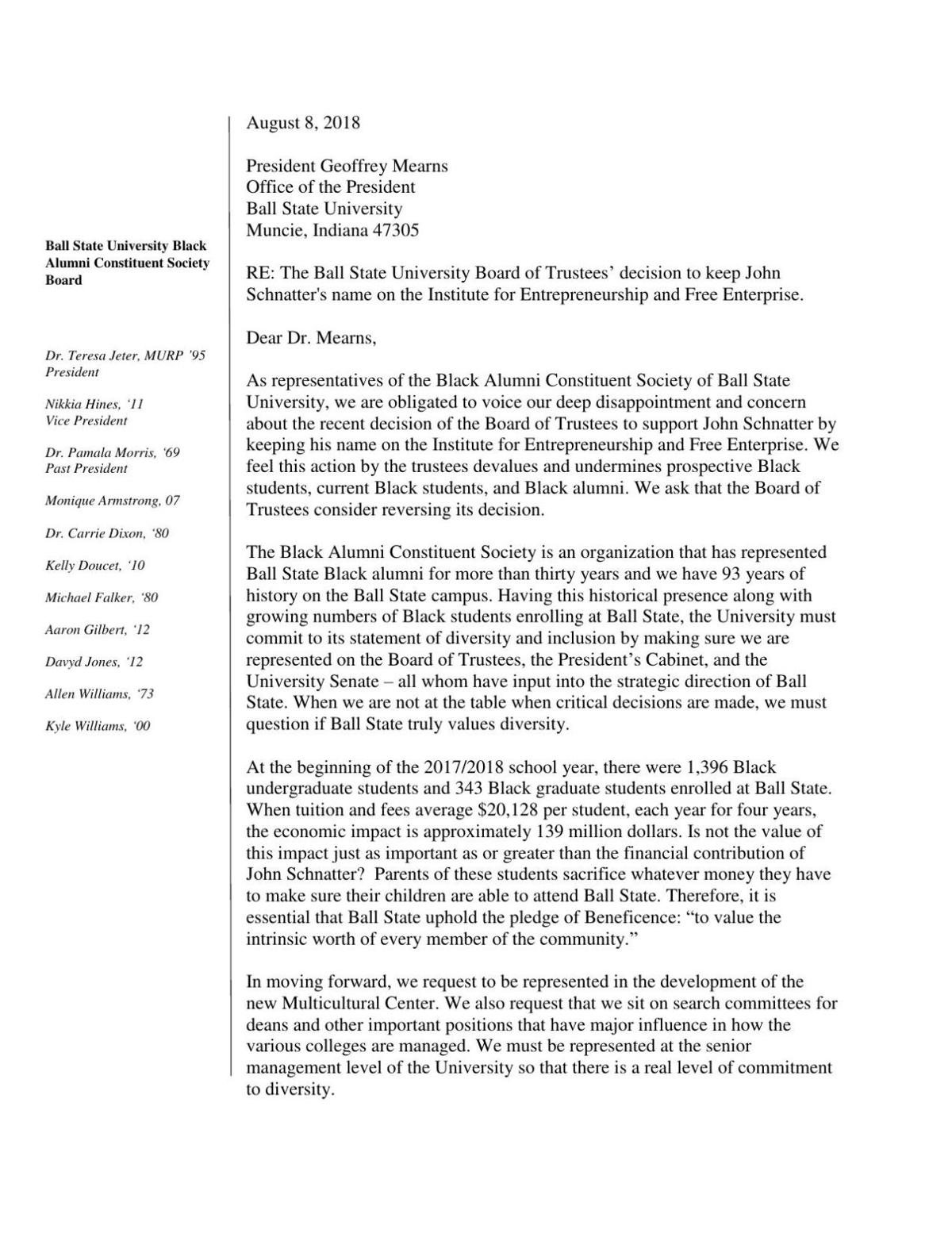 Letter to Ball State President