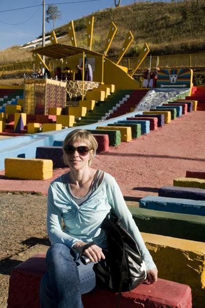 Kelly Hayes at the Valley of the Dawn spiritual site in Brazil