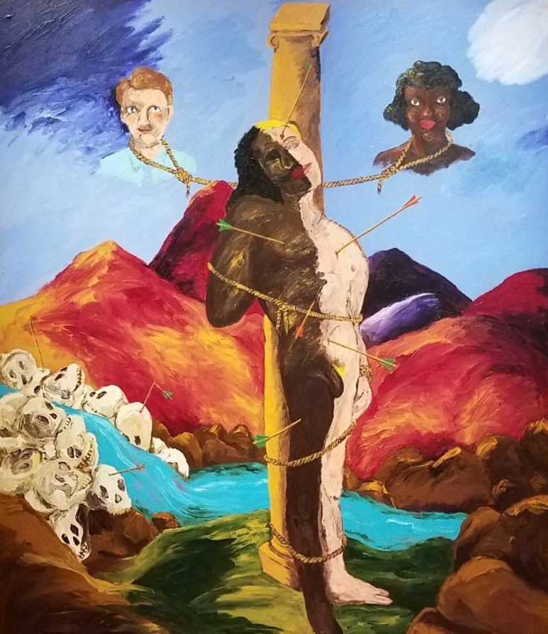 """Knowledge of the ""Past is the Key to the Future (St. Sebastian)"" by Robert H. Colescott"