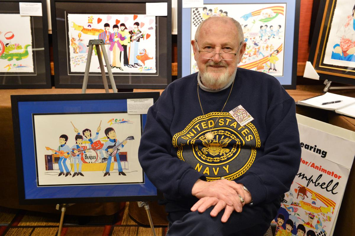 Ron Campbell with his art