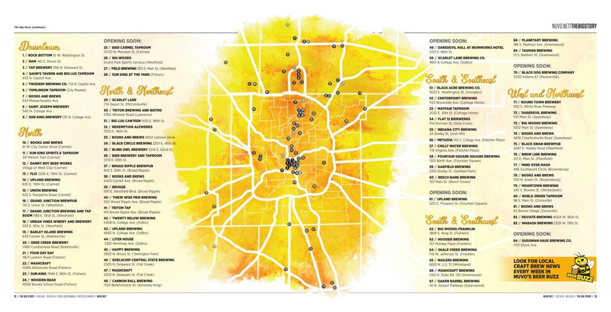 NUVO 2018 Local Brewery Map | | nuvo.net Indiana Brewery Map on indiana american map, indiana settlers, indiana building map, indiana breweries list, indiana sports map, marion county indiana zoning map, harrison county township map, indiana industrial map, kosciusko county township map, indiana county codes, indiana wine, indiana corrections inmate find, indiana road map detailed, indianapolis indiana map, indianapolis marion county township map, indiana school map, indiana telephone exchange map, jackson county indiana township map, shelby county indiana township map, indiana rail trail map,