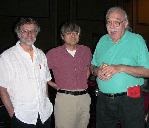 Pflum (R) with fellow poets JL Kato (M) and Jeff Pearson (L)