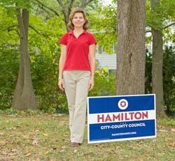 Running for office: Carey Hamilton hits the streets