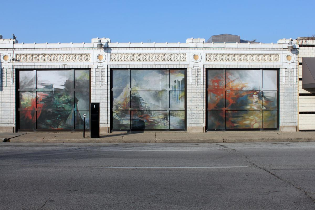 """""""Mountain, House of Straw and Breath, Shell"""" by Susan Hodgin on Arts Council façade in 2012"""