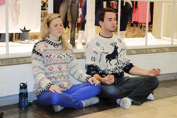 Meditation Flash Mob storms Circle Centre Mall