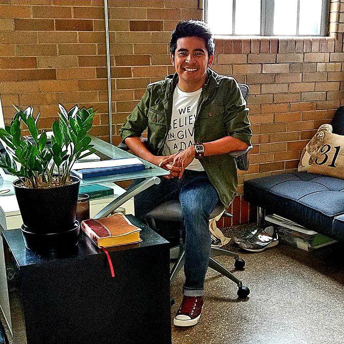 Jingo de la Rosa in his studio residence at the Harrison Center
