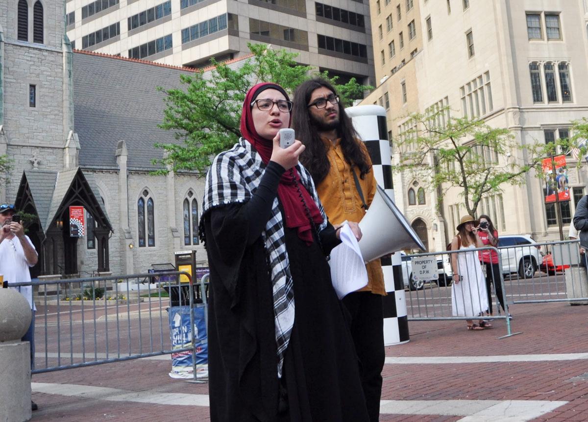 Umaymah Mohammad and Ahmed Abbas at Nakba Day vigil at Monument Circle
