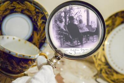 Inspecting items more closely at Benjamin Harrison Presidential Site