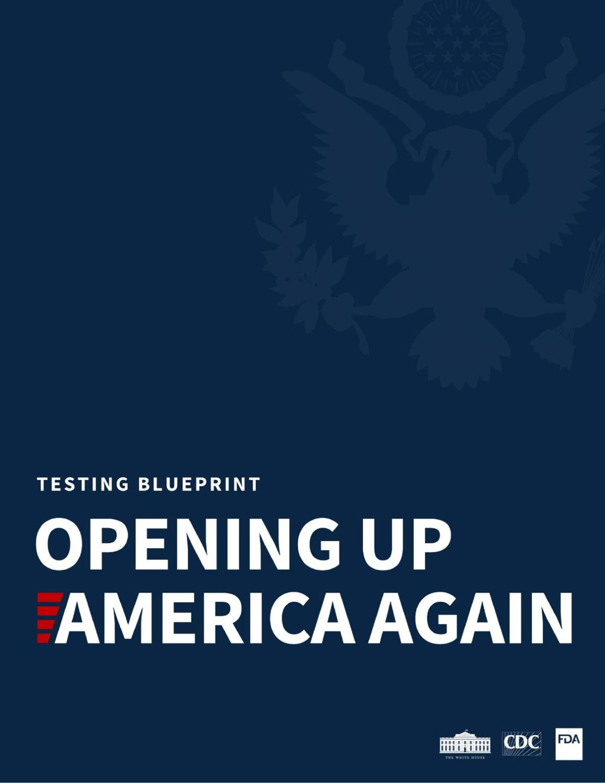 Testing blueprint. Opening up America again