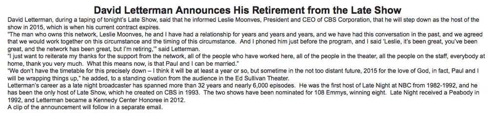 Stelter: Letterman retiring in 2015