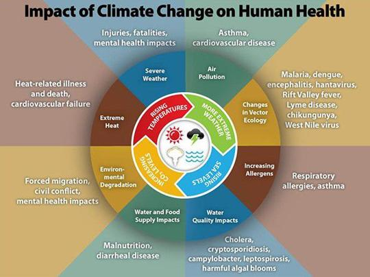 the threat of local climate to humans health Threat of global warming/climate change and health as well as sustainable livelihoods for humans are being undermined.