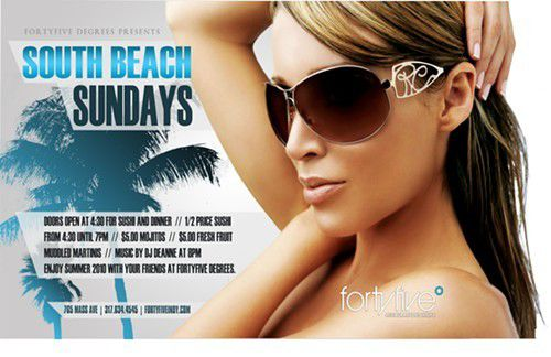 South Beach Sundays at Forty Five Degrees