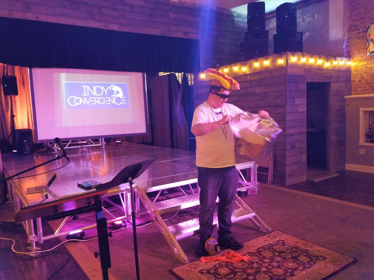 Mark Cashwell, the top hot dog at 'Godawful TED Talks' at Indy Convergence