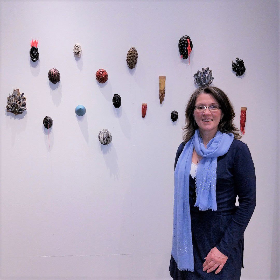 Katrina Murray with sculptural installation