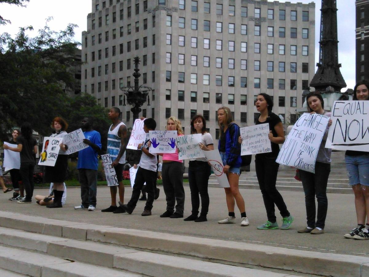 Students protest racial discrimination on Labor Day