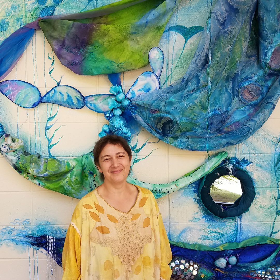 """Sofiya Inger in front of """"What Lies Within"""""""
