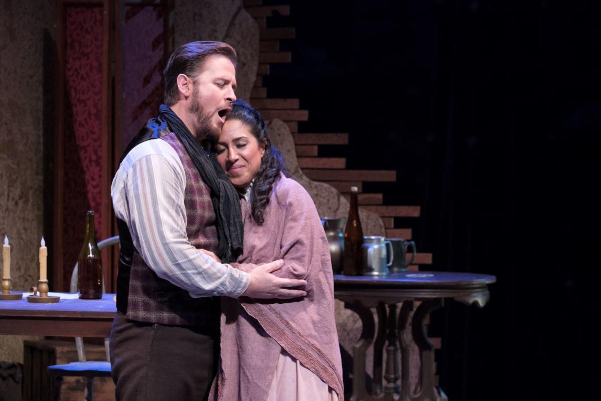 Gregory Turay as Rodolfo and Cristina Bakhoum Sanchez as Mimì in 'La Bohème'