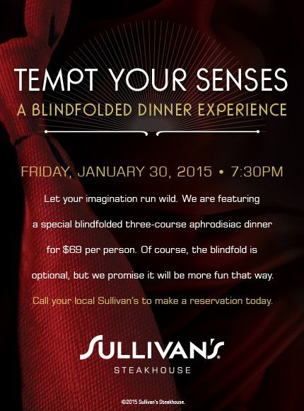 Sex up your date night with blindfolded dining at Sullivan's