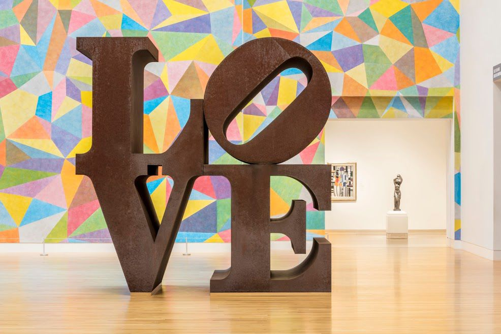 """LOVE"" sculpture by Robert Indiana at Newfields"