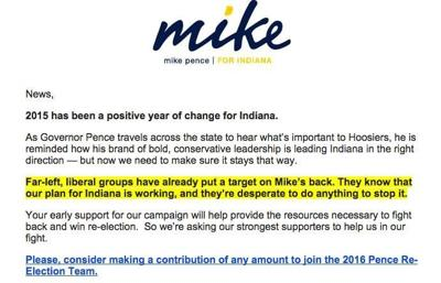 Here's Mike Pence's email blast for campaign contributions