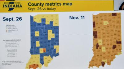 The Indiana State Department of Health map which shows that the number of COVID-19 cases has risen to high levels across the state. TheStatehouseFile.com