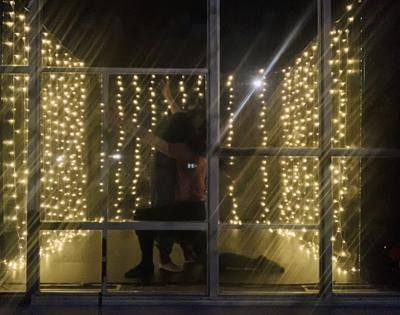 The windows of the Basile Opera Center become a stage