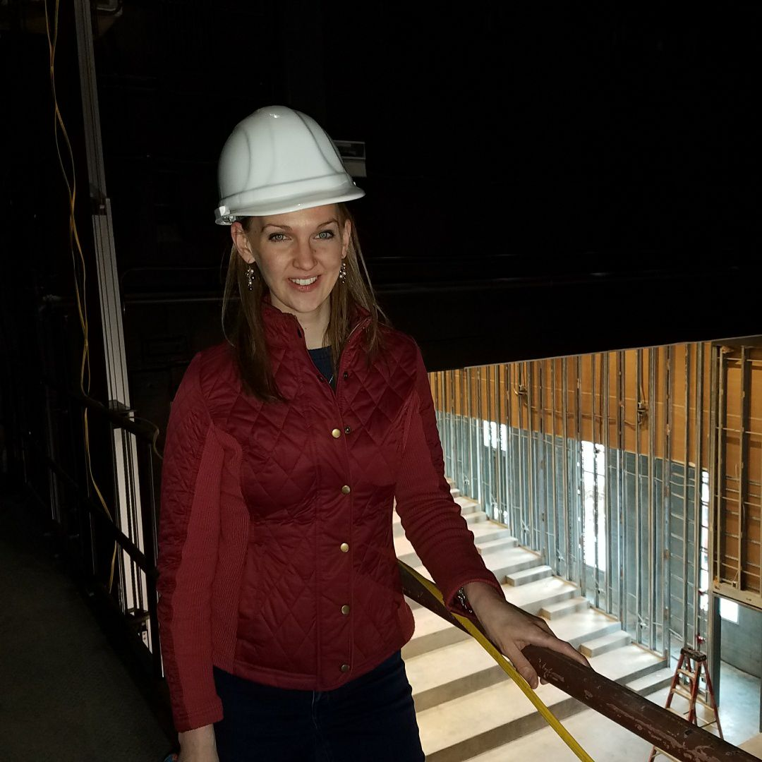 Advancement Manager Chelsea Anderson at Phoenix during construction in January