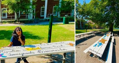 Beatriz Vásquez with her  painted picnic tables at Christian Park