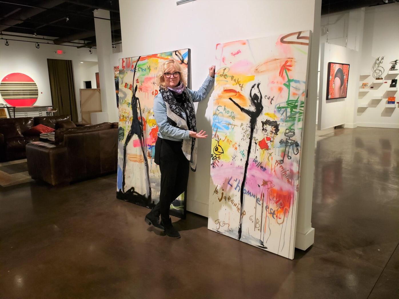 Susan Brewer with paintings by Michael Gorman