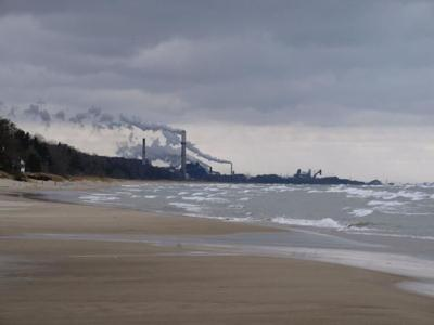 US Steel at Burns Harbor from Indiana Dunes beachshore