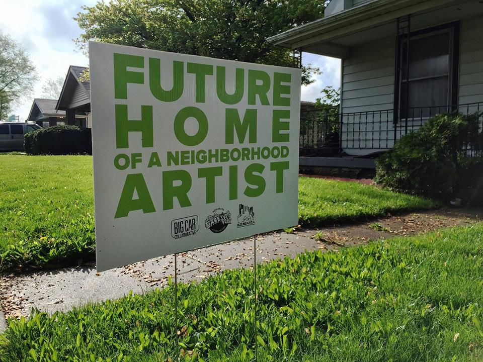 Sign outside Artist and Public Life Residency house in Garfield Park neighborhood