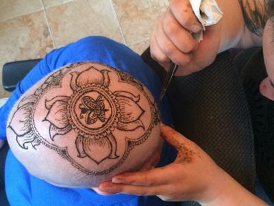 An uplifting experience: Henna crowns for cancer patients are a creative alternative to wigs, hats or scarves