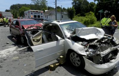 Three-vehicle crash sends four to hospital