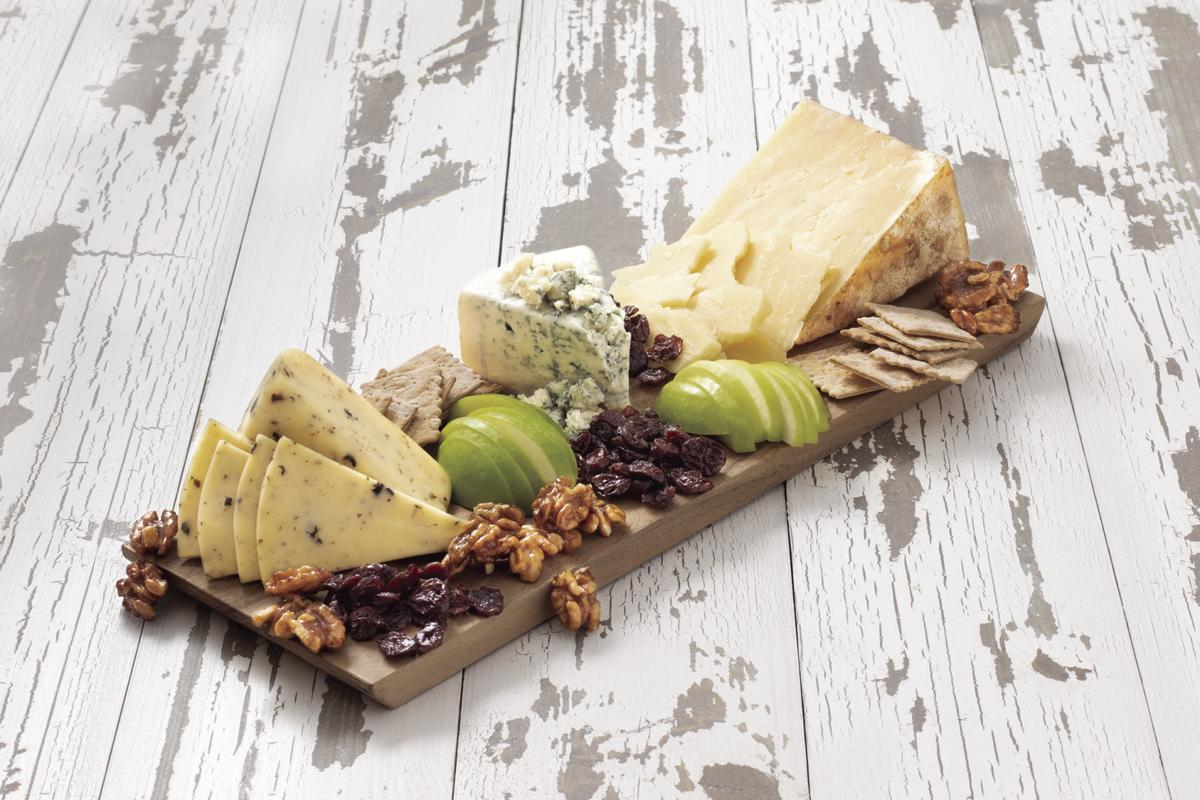 RED WHITE AND BLUE CHEESE PLATE