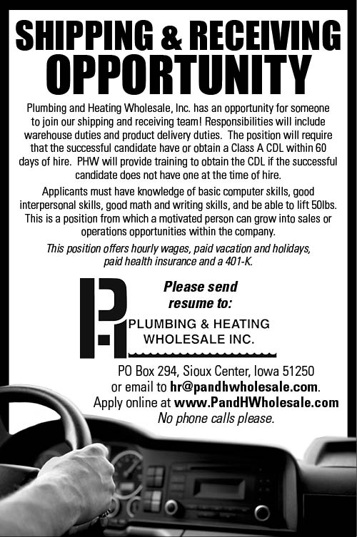 Shipping/Receiving Opportunity at Plumbing & Heating Wholesale