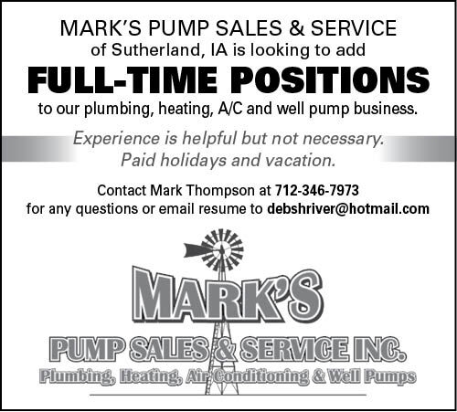 Positions at Mark's Pump Sales & Service