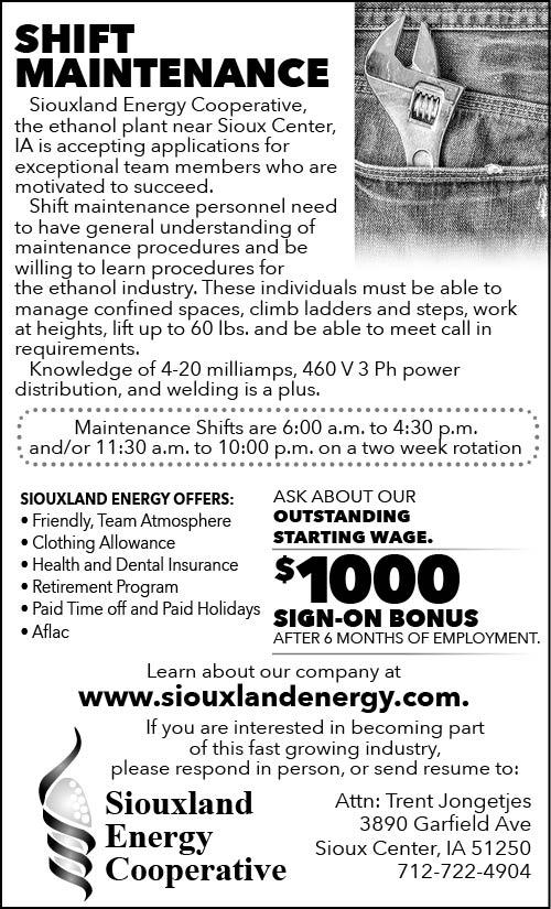 Shift Maintenance at Siouxland Energy