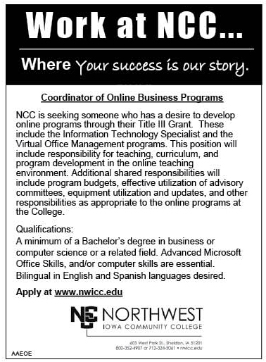 Coordinator of Online Business Programs at NCC