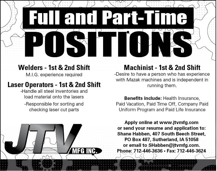 Positions at JTV Manufacturing