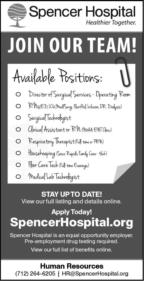 Positions at Spencer Hospital