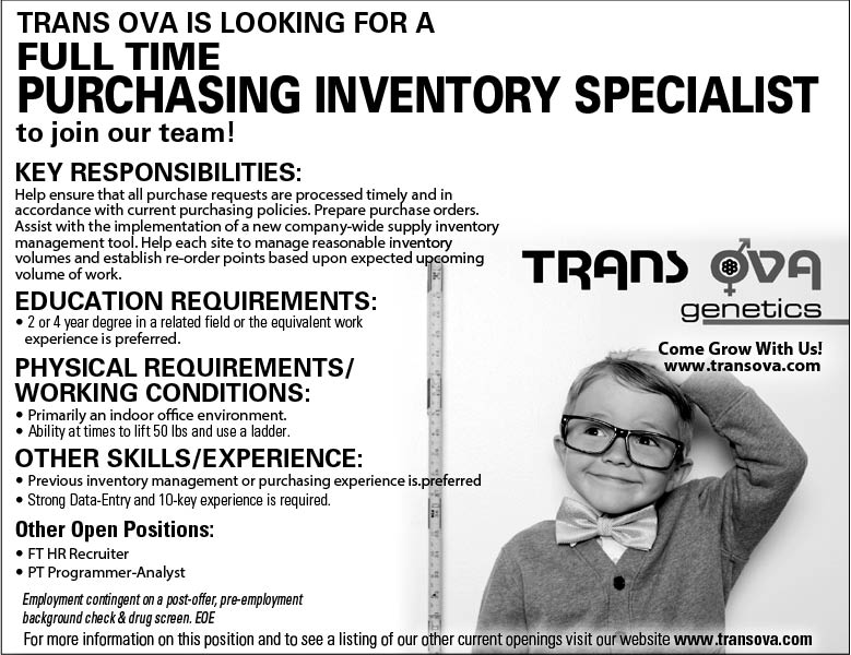 full time purchasing inventory specialist at trans ova