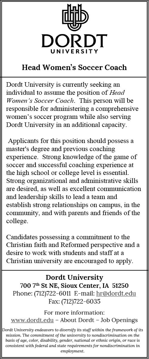 Head Women's Soccer Coach at Dordt College