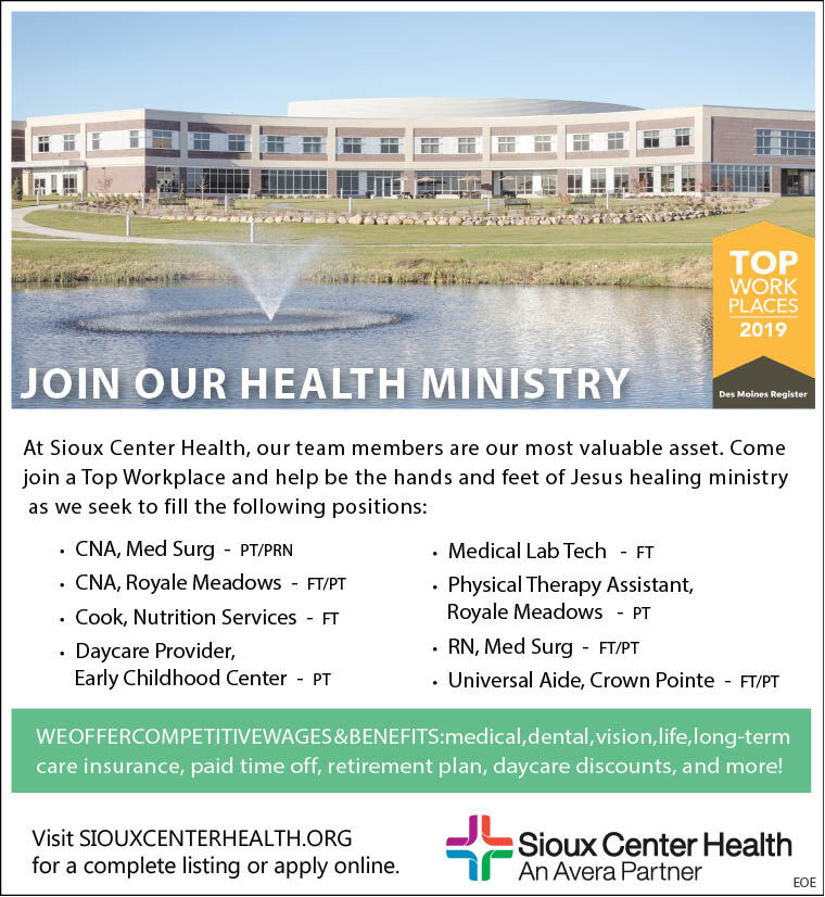 Positions at Sioux Center Health