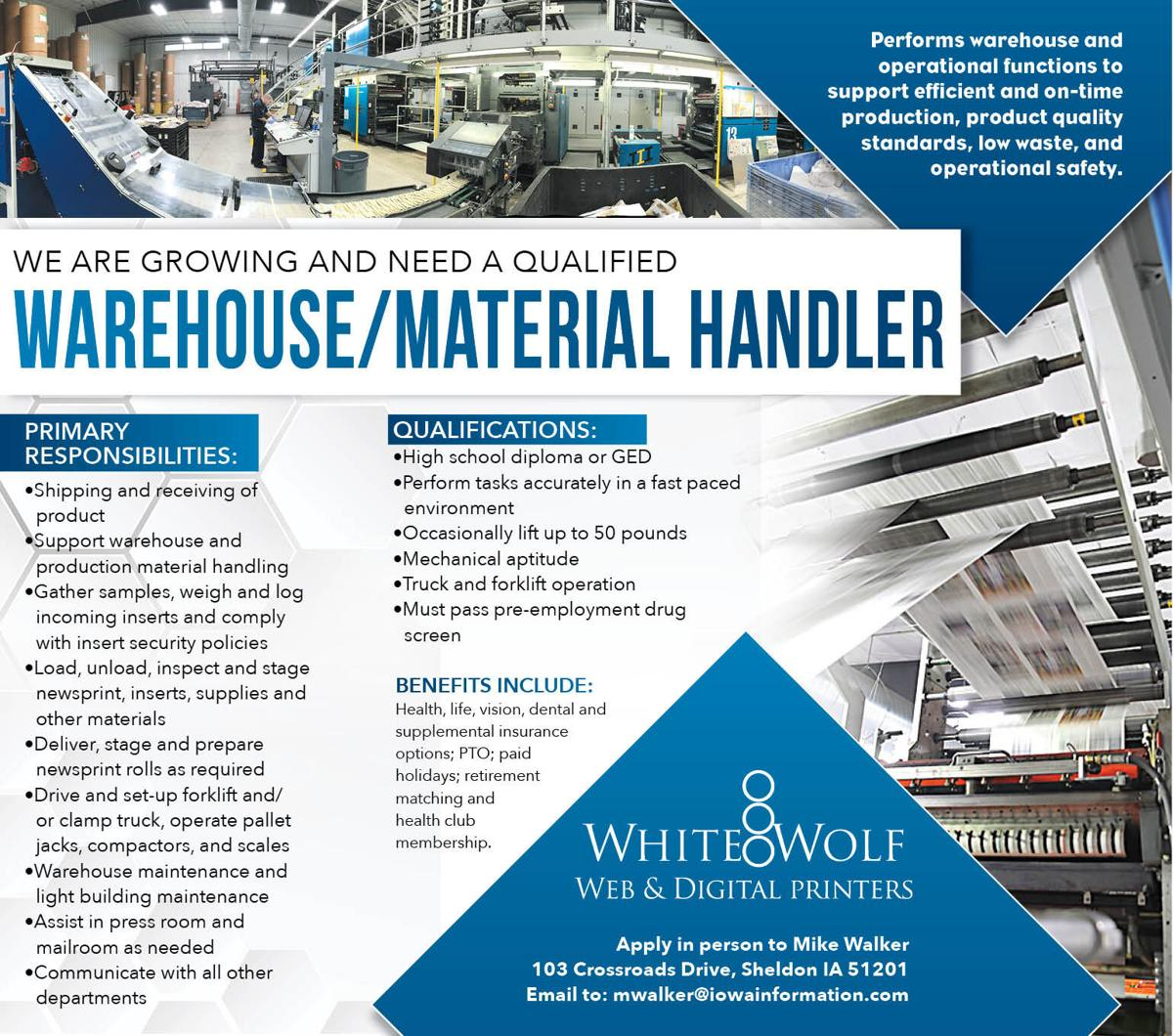 Warehouse/Material Handler at White Wolf Web
