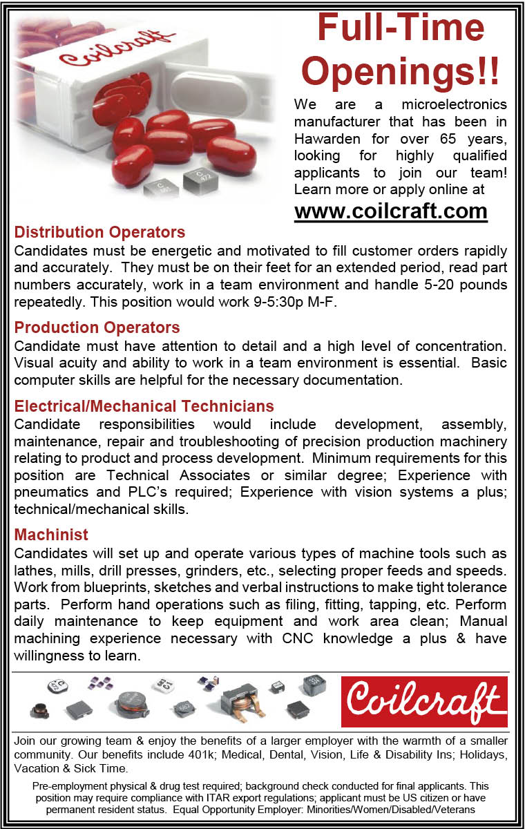 Positions at Coilcraft