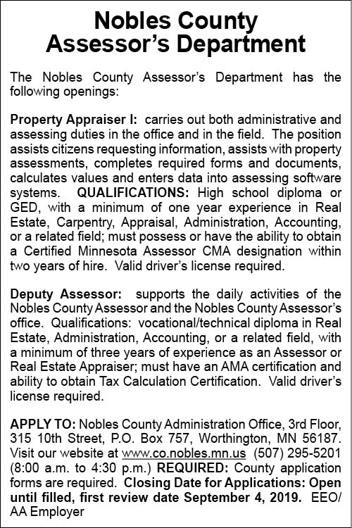 Assessor at Nobles County Administration