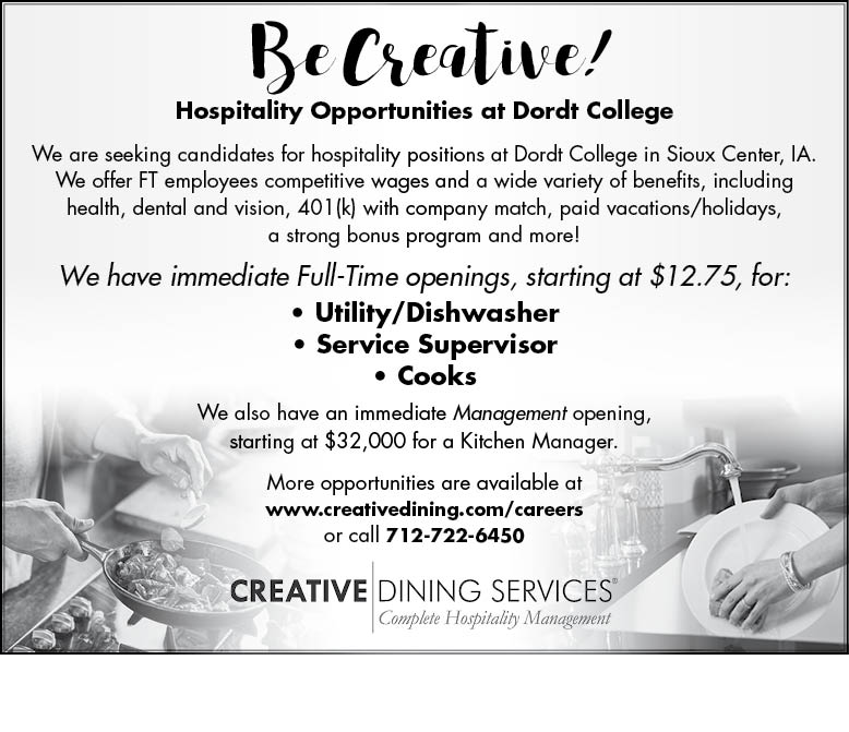 positions at dordt college dining services school positions
