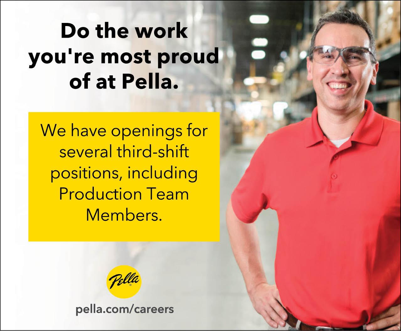 Third Shift Positions at Pella