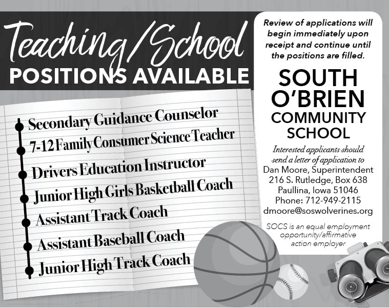 Positions at South O'Brien Schools